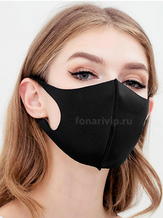 Маска защитная многоразовая FASHION MASK из неопрена черная